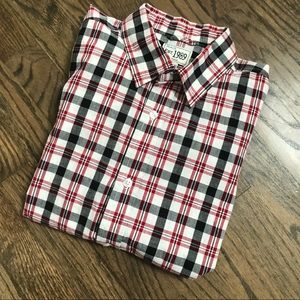 Children's Place white, red and black plaid shirt